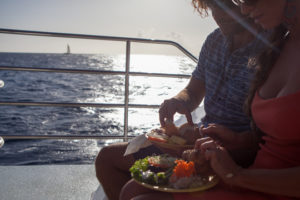 dinner on the sunset Na Pali cruise with Holo Holo charters